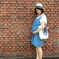 【妊娠9ヶ月】夏の古着デニムワンピースマタニティコーデ