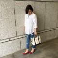 【妊娠9ヶ月】プラステマタニティウェアの白シャツカジュアル妊婦コーデ